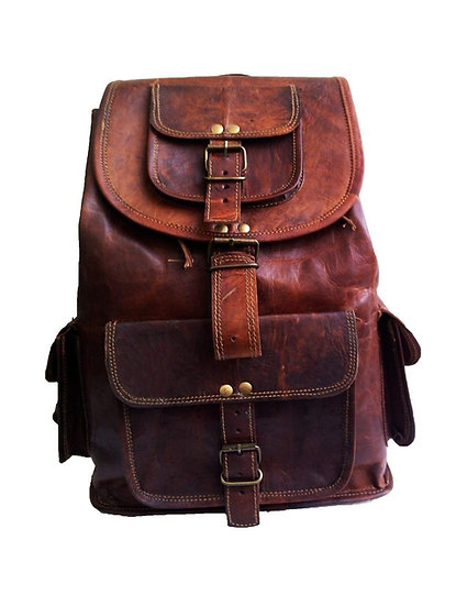 "18"" Genuine Leather Retro Rucksack Backpack College Bag,school Picnic Bag"