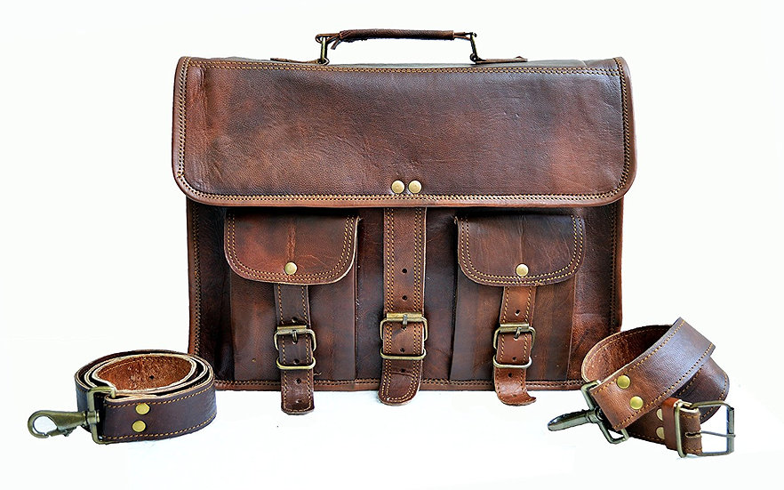"Jaald Mens Genuine Leather Large Laptop Bag Messanger Bag for Upto 14"" Laptop"