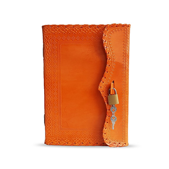 Handmade Orange Notebook Leather Journal Personal Diary Gift For Men Wom