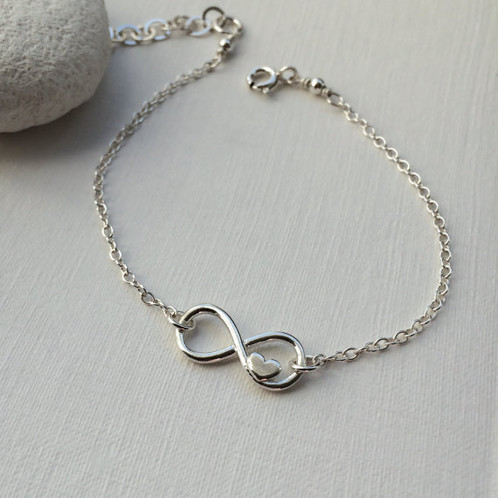 Sterling Silver Infinity Heart Friendship Bracelet Love Forever