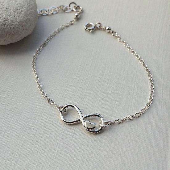 Sterling Silver Infinity Heart Friendship Bracelet Love Forever Bracelet
