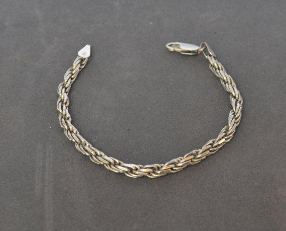 Vintage STERLING SILVER CROSS LINK PATTERN Bracelet