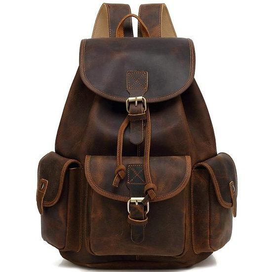 Vintage Leather Backpack Knapsack Daypack Hiking Bag College Book Bag for Boys