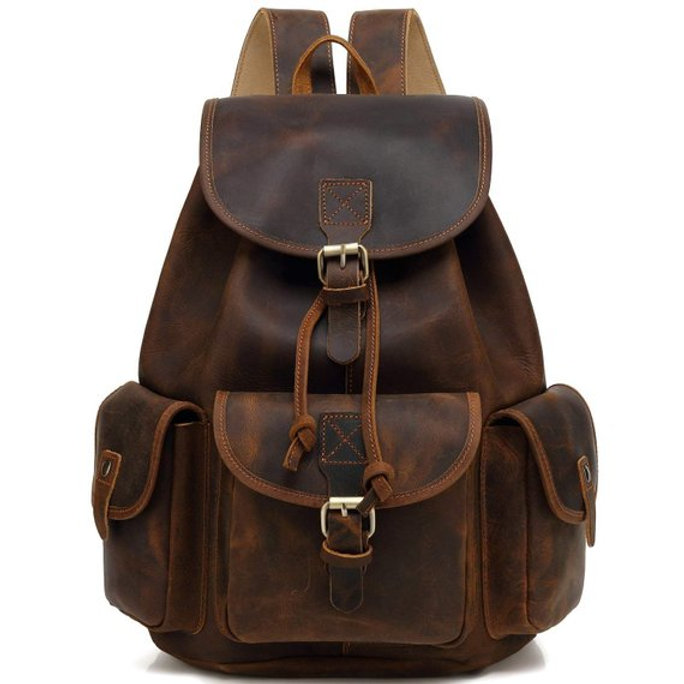 Vintage Leather Backpack Knapsack Daypack Hiking Bag College Book For Boys