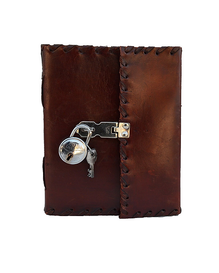 """10"""" Premium Leather journal with chrome polished lock with Latch& Key."""