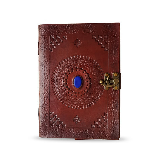 "Handmade 10"" Embossed Leather Journal with Blue Stone Personal Travel Diary"