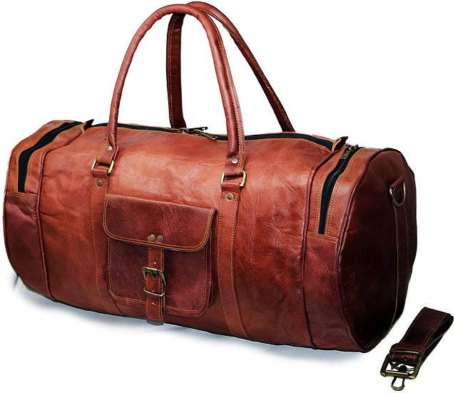 """22"""" Men's Genuine Leather Duffle Gym Large Travel Weekend Sports Luggage"""