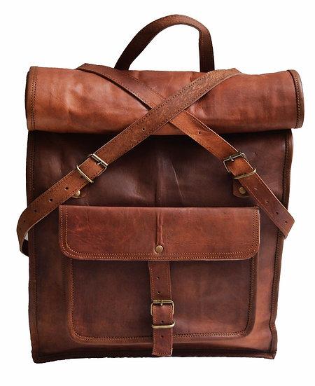 "22"" Genuine Leather Vintage 15.6 17"" Laptop Backpack School Book Bag Briefcase"