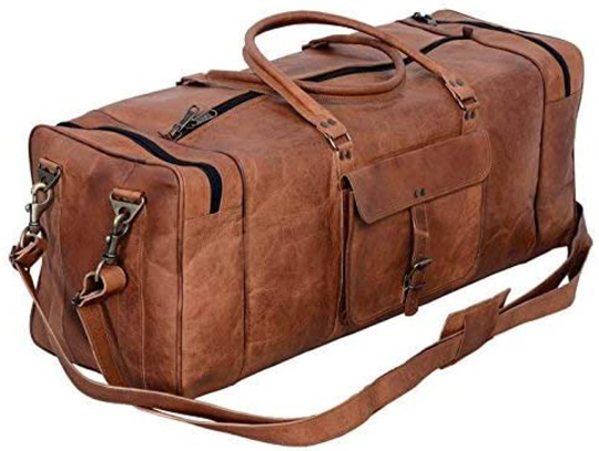 "28"" Genuine Leather Mens Duffel Gym Sports Travel Weekend Carry on Lugga"