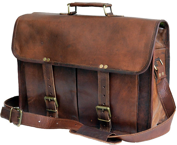 Jaald Leather Messenger Satchel Shoulder 13 15.6 Laptop Bag Briefcase office bag