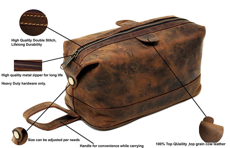 Genuine Leather Toiletry Bag For Men Travel Kit Dopp Groomsmen Shaving