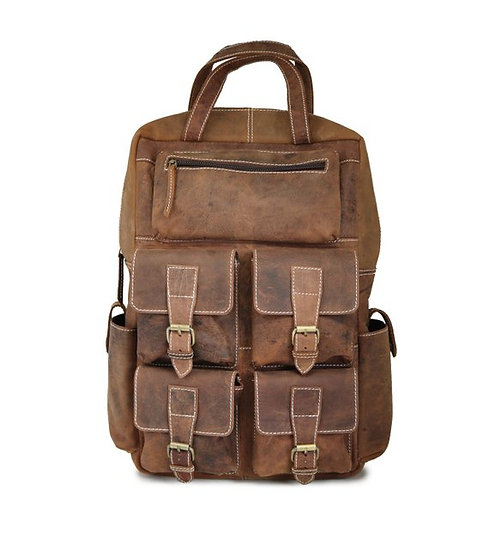 Vintage Large Leather Backpack Knapsack Travel Bag College Book Bag for Men