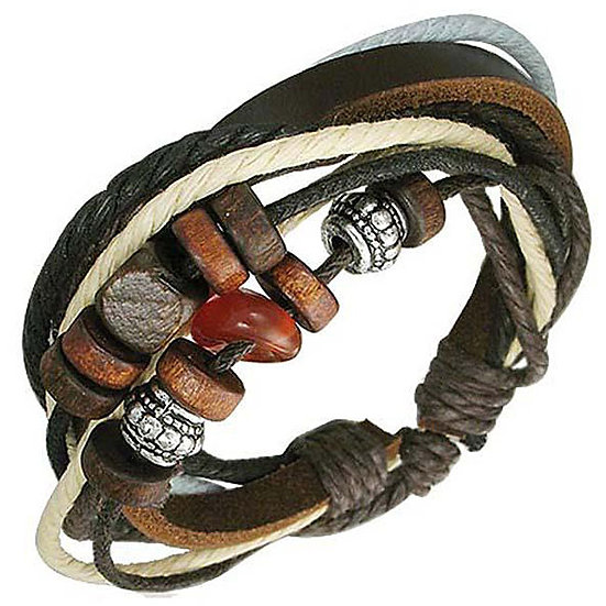 Leather and Stone 'Fortunate' Bracelet sterling silver