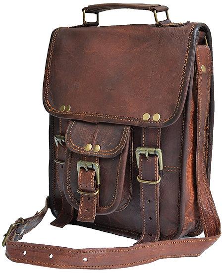 Genuine distressed leather shoulder bag satchel for men messenger bag ipad Bag
