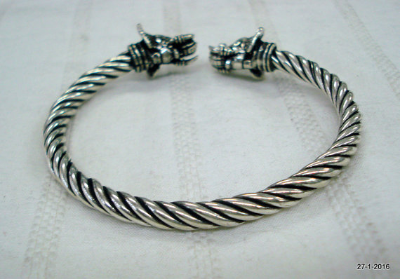 Sterling Silver Bracelet Bangle Elephant Heads cuff Indian Traditional