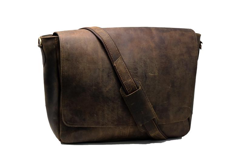 "16"" Men's Genuine Leather Messenger Office Bag College Work Bag Gift for"