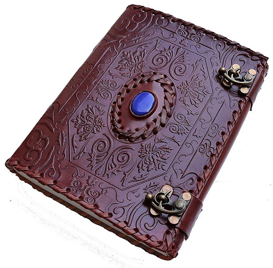"Handmade Large 8"" Embossed Leather Journal Personal Travel Diary with Blue Stone"