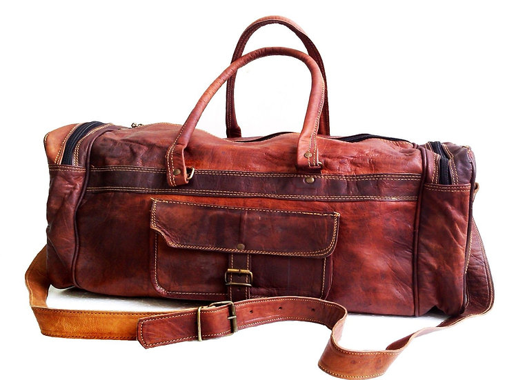 "Clearance 20"" Men's Genuine Leather Duffle Gym Large Travel Weekend"