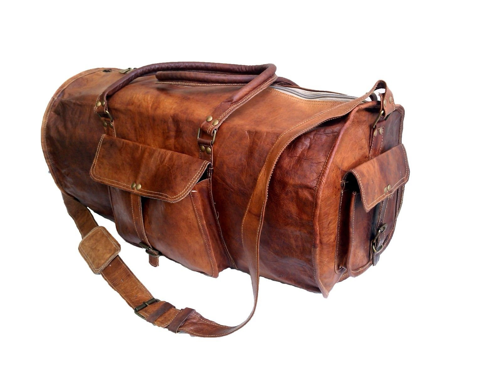 Jaald 24 Genuine Leather Men S Duffel Bag Gym Sports Travel Weekend Duffle