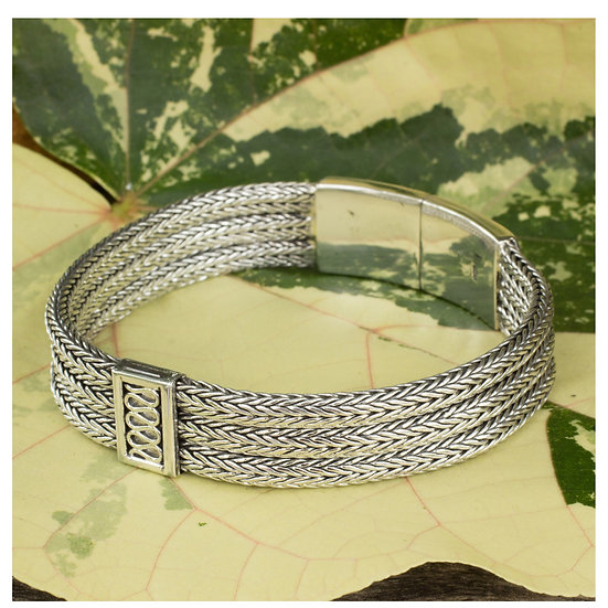 Mens Handmade Sterling Silver Wheat Beared Head Bracelet