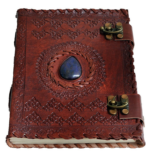 "Handmade Large 8"" Embossed Leather Journal Celtic two latches blue stone"