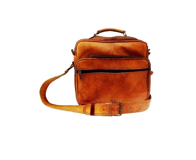 Genuine Leather Brown Messenger Bag Cross Body Satchel for Passport Reporter Bag