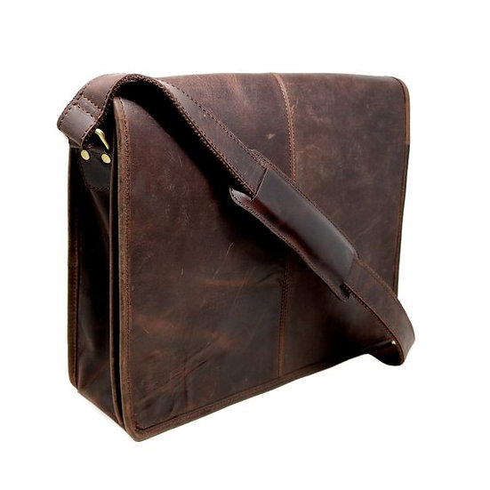 Genuine Buff Leather Large Messenger Bag Cross Body Satchel Gift for Men