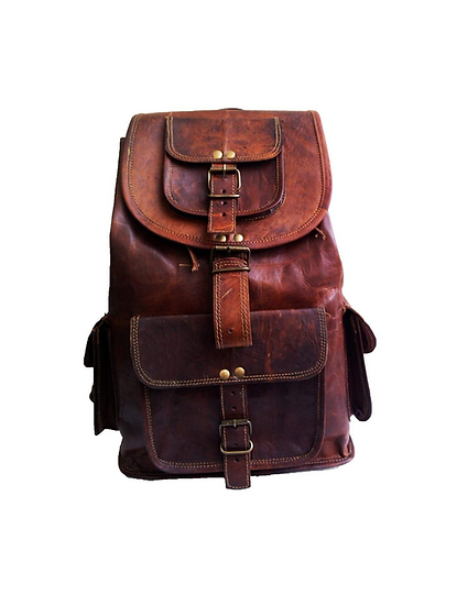 "15"" Genuine Leather Retro Rucksack Backpack College Bag,school Picnic Bag"