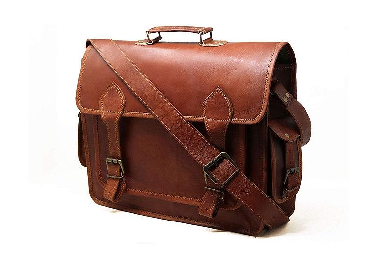 "16"" Men's Genuine Leather Messenger College Macbook Air Pro Laptop Bag"