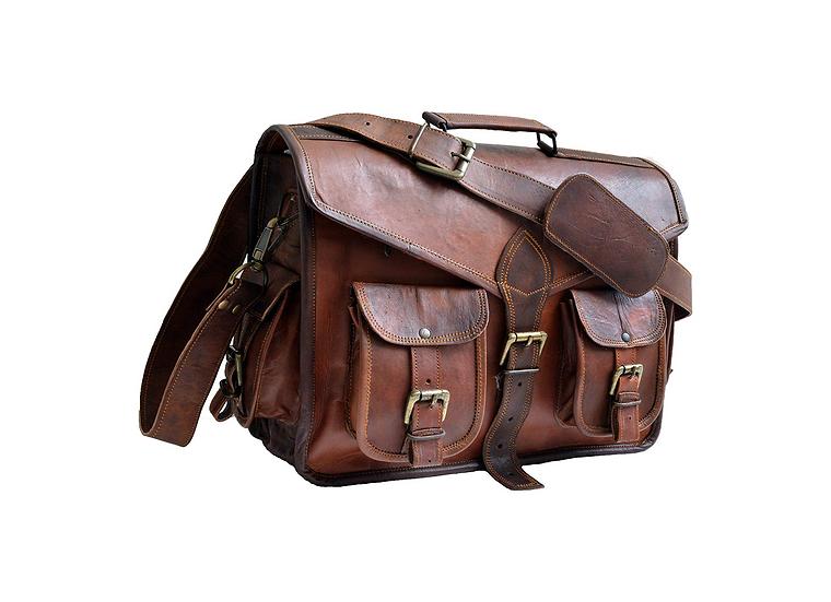 """15"""" Genuine Leather Messenger Laptop Bag Office Bag"""