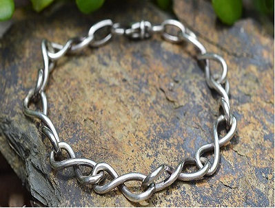 Infinity Link Sterling Silver Bracelet 925 simple formal elegant wedding gift
