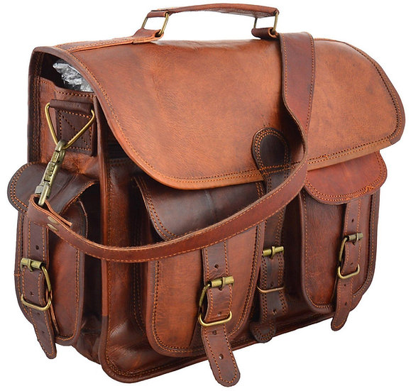 "15"" distressed Leather messenger bag laptop bag computer case shoulder bag"