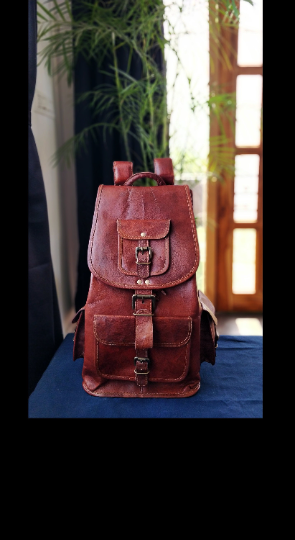 Personalized Genuine Leather backpack for women girls rucksack