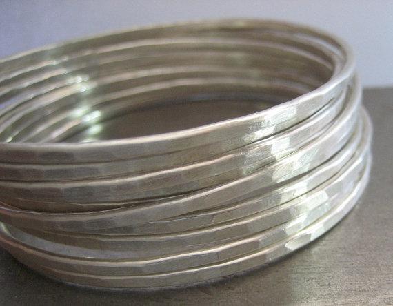 Handmade Vintage Hammered Silver Sterling Bangles Bracelet for Women Daily Use