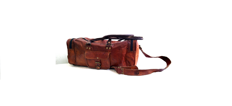 Mens Leather duffle bag carry on Small Weekend Travel Sports Gym Bag