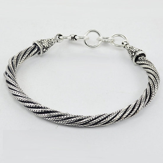 Handmade Sterling Silver Twisted Pair Chain Link Bracelet Fashionable Gift