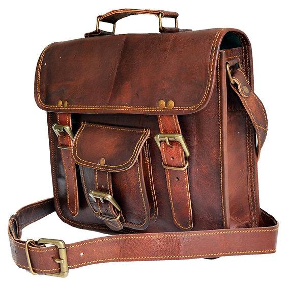 "11"" Mens Genuine Leather Small Messenger bag Satchel Passport man murse bag"