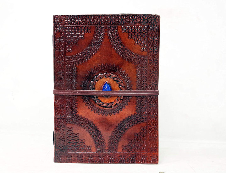 Handmade Large Leather Journal Celtic Embossed Stone Blank Diary