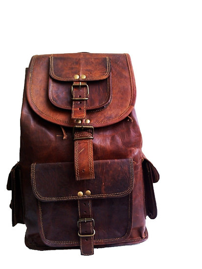 "16"" Genuine Leather Retro Rucksack Backpack College Bag,school Picnic Bag Gift"