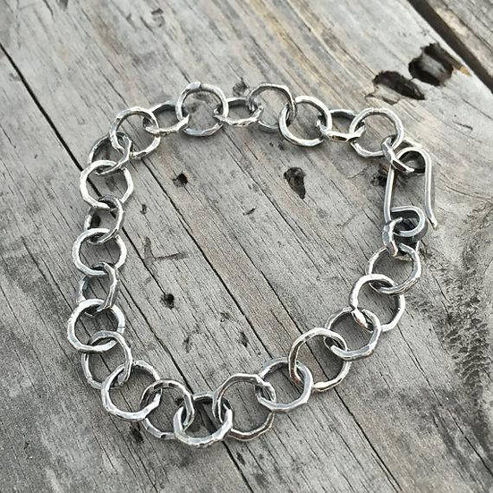 Handmade Hammered Ring Charm Sterling Silver Bracelet