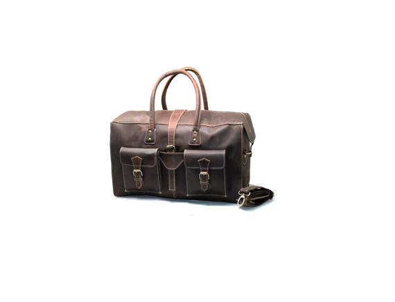 Genuine Leather Duffel Bag Vintage Carry On Weekend Bag Large Luggage Bag