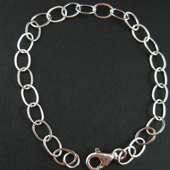 Sterling Silver Bracelet Big Flat Oval Shape Chunky Bracelet Charm Bracelet