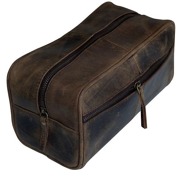 Men's Vintage Leather Toiletry Bag Dopp Kit Shaving Kit Bag for Men