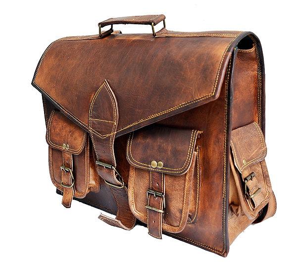 """15"""" Genuine distressed Leather Vintage Laptop Backpack Shoulder Messenger Bag"""