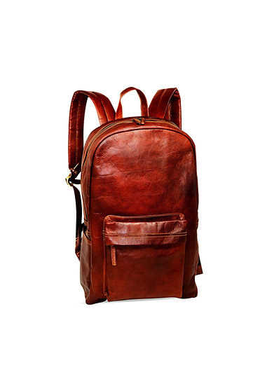 "18"" Brown Leather Backpack Vintage Laptop Bag Water Resistant Casual Daypack"