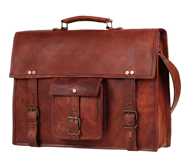 "15"" Mens Genuine Leather laptop messenger bag Satchel shoulder bag"