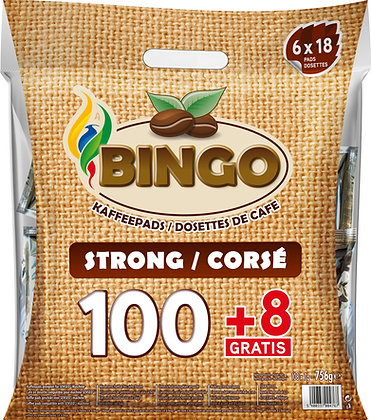 BINGO 100+8 COFFEE PADS STRONG