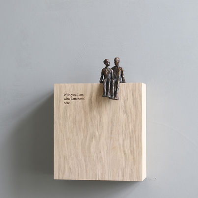 Carol Peace, 'With you', Bronze on oak wall block Edition of 25, 15 x 14 x 5cm