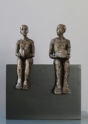 Carol Peace, Proposal, Bronze resin on wooden block, 28cms high x 22w x 12d, ed of 25
