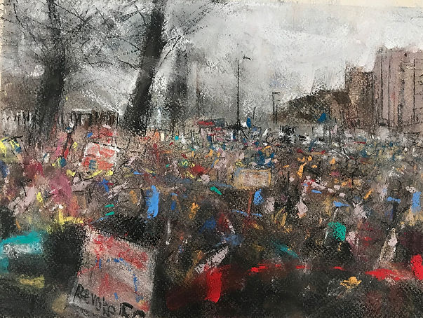Oona Hassim, Brexit: The peoples vote March 2019, Pastels on paper, 37.5 x 31cm, Woolff Gallery